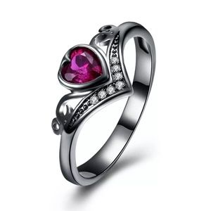 Jewelry - 18k Black Gold Plated Ruby Heart Ring Size 7
